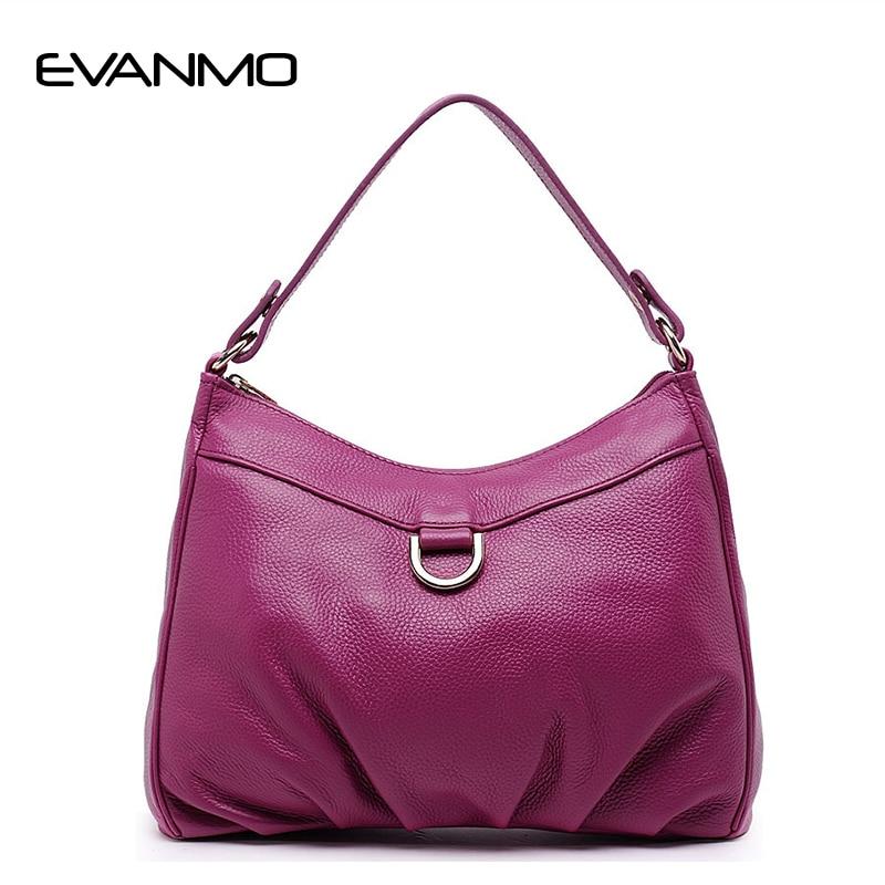 Genuine Leather Women Shoulder Bag Rose Red Fashion Leather Tote Shoulder Bag Bolsas Femininas Large Capacity Casual Women Bags