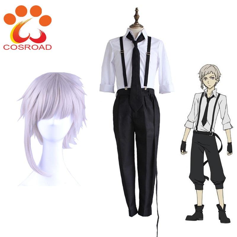 Nakajima Cosroad Anime Bungo Cães Vadios Atsushi Cosplay Perucas Camisas Calças Tie Luvas Definidos