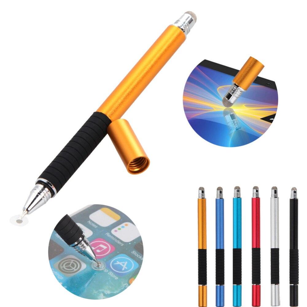Bolígrafo de punto de bola redondo de Metal de precisión capacitiva 2 en 1, bolígrafo Lápiz de pantalla táctil para teléfono inteligente para tableta, iPad para iPhone