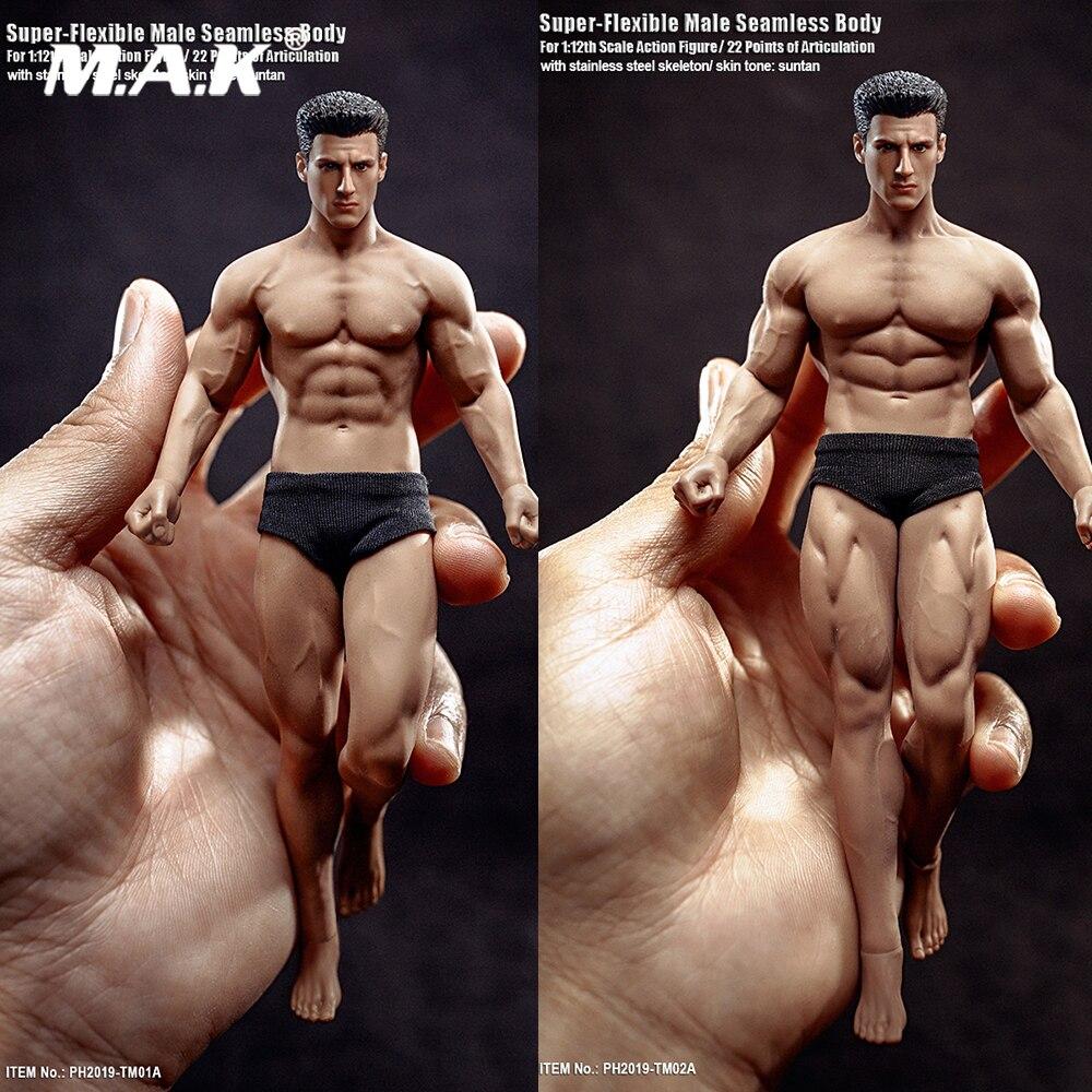 En Stock 15,3 cm/16,3 TBLeague TM01A cm/B 1/12 Super Fitness Flexible masculino cuerpo sin costura cabeza Mini figura modelo para Fans regalos