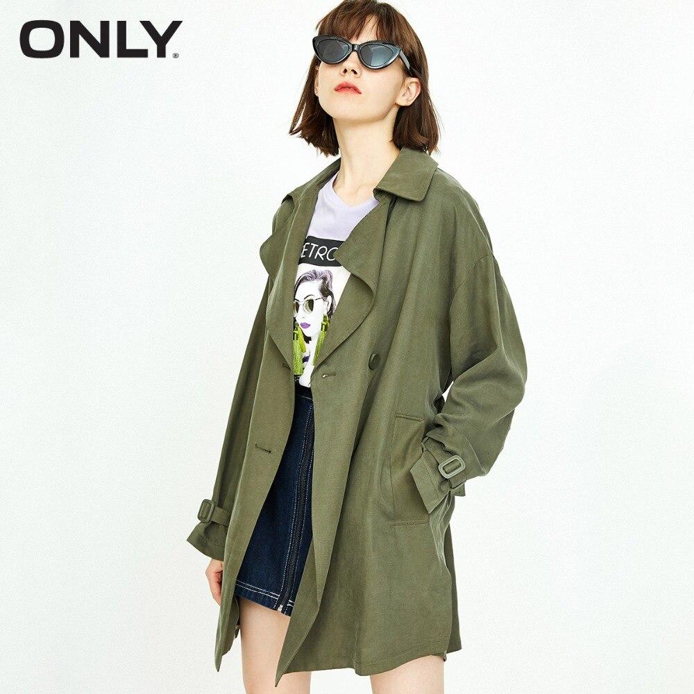 فقط المرأة الجديدة انقسام مزدوجة الصدر خندق معطف | 118336501