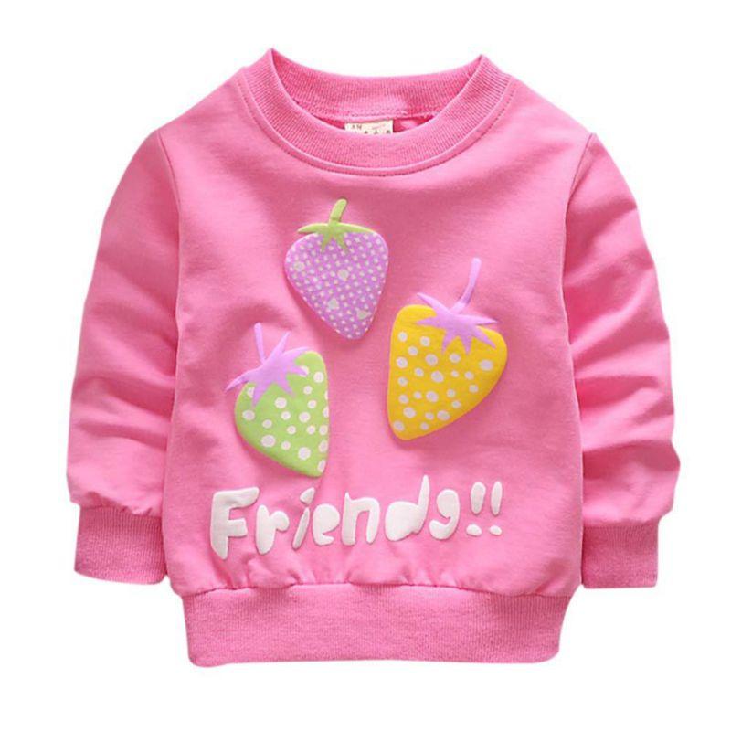 Повседневный свитер для новорожденных, 2018 новая осенняя одежда для маленьких девочек, свитер с длинными рукавами и рисунком клубники, детская одежда для От 0 до 2 лет, P1