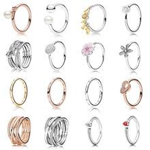 16 Styles nouvelle fleur coeur perle couleur argent anneaux de couleur pour les femmes de mariage bijoux cadeau