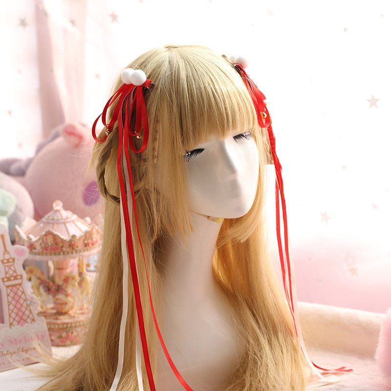 Chinese style Ribbon Pom Pom Bell Cosplay Hair Accessories Hanfu Kimono Accessory Lolita Women Headwear Side clip 10 Colors