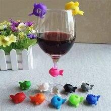 Étiquette Silicone à 6 pièces/ensemble   Tasse amusante identifier fête vin bouteille verre boisson tasse marqueur étiquettes nouveaux arrivages