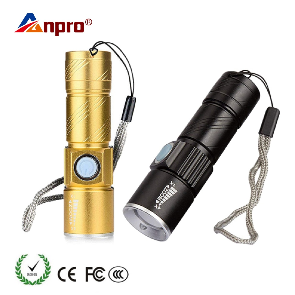 Anpro мини USB светодиодный фонарик фонарь для кемпинга на открытом воздухе перезаряжаемый водонепроницаемый масштабируемый фонарь для велосипеда 3 режима Удобная вспышка