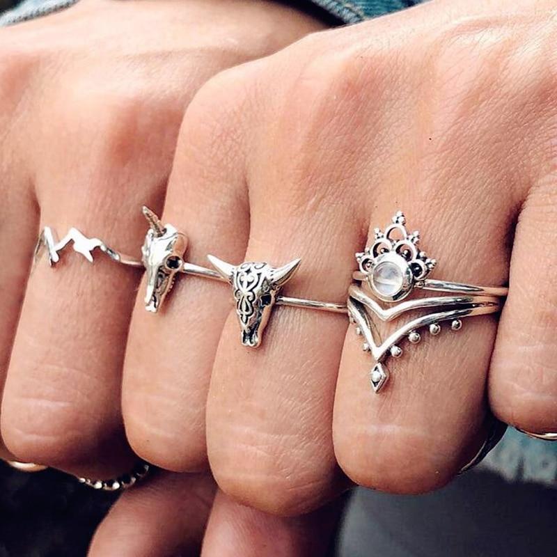 4 pièces/ensemble Vintage vache anneaux pour femmes Boho géométrique cristal Knuckle éléphant fleur Knuckle doigt Midi anneau bijoux 2020