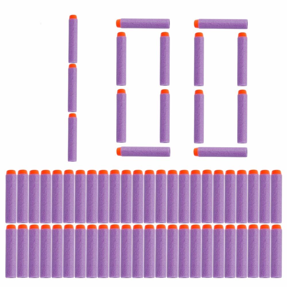 100 шт. фиолетовые пули для Nerf, мягкие полые отверстия, 7,2 см, пополняемая игрушка дартс, пули для серии Nerf, бластеры, подарок для детей