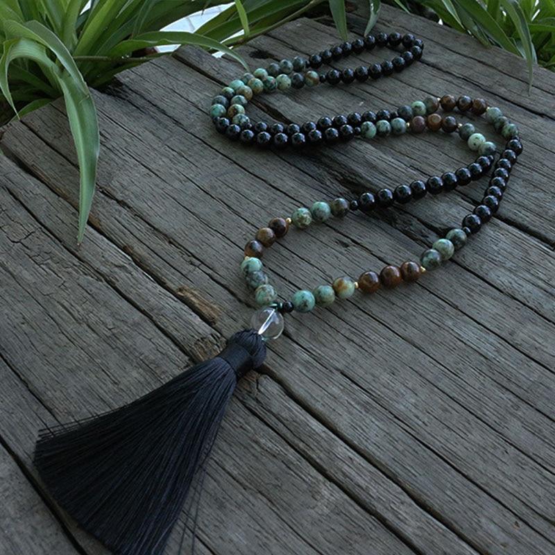 8mm African Turquoise And Onyx Beads Necklace, Confidence And Lucky JapaMala, 108 Bead Mala, Mala Jewelry, Mala Prayer Beads