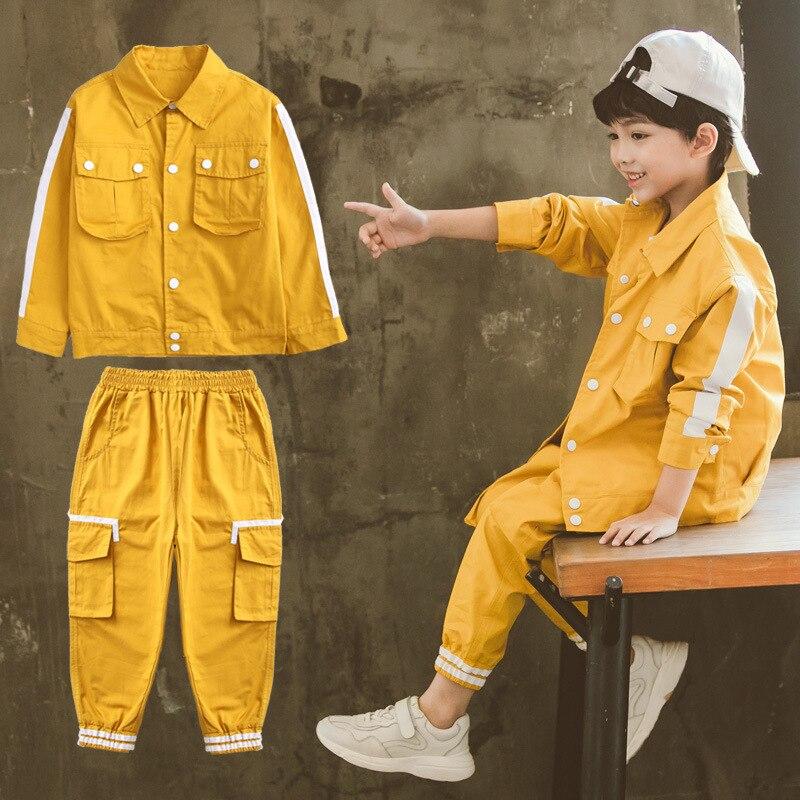 Genç erkek giyim seti rahat çocuk giysileri erkek spor takım elbise çocuk 2019 bahar baskı çizgili erkek kıyafetler 10 12 erkek giysileri