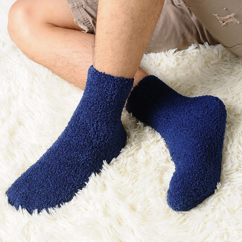 Мужские зимние плотные носки, модные теплые коралловые флисовые пушистые однотонные носки для сна, мужские носки для кровати, носки
