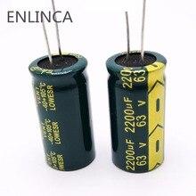 12 unids/lote H074 alta frecuencia baja impedancia 63V 2200UF condensador electrolítico de aluminio tamaño 18*35 2200UF 63V 20%