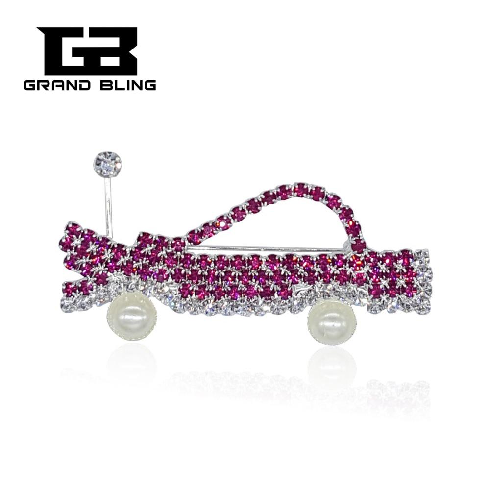Blingbling broche de joyería de cristal de diamantes de imitación coche Rosa...