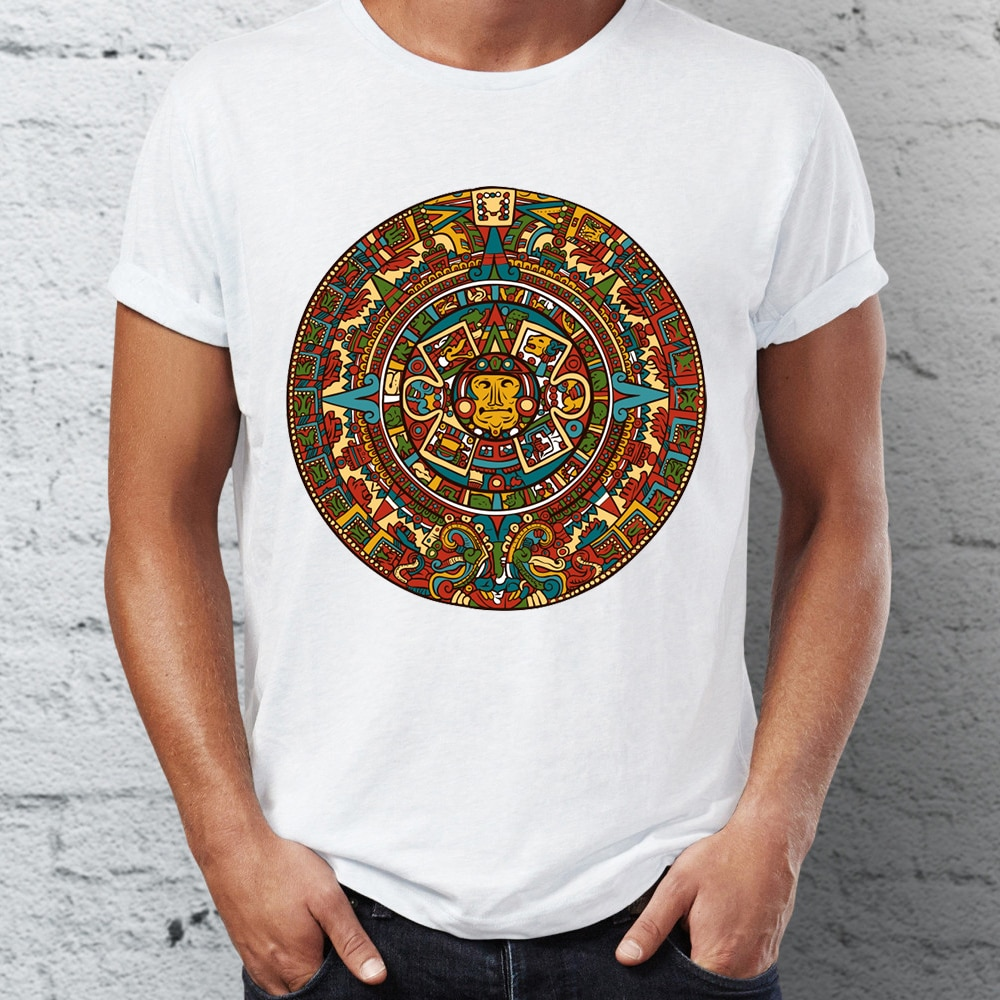 Customized herren T Shirt Aztec Kalender Artsy T Neueste Crew Neck Kurze Ärmel Camisetas
