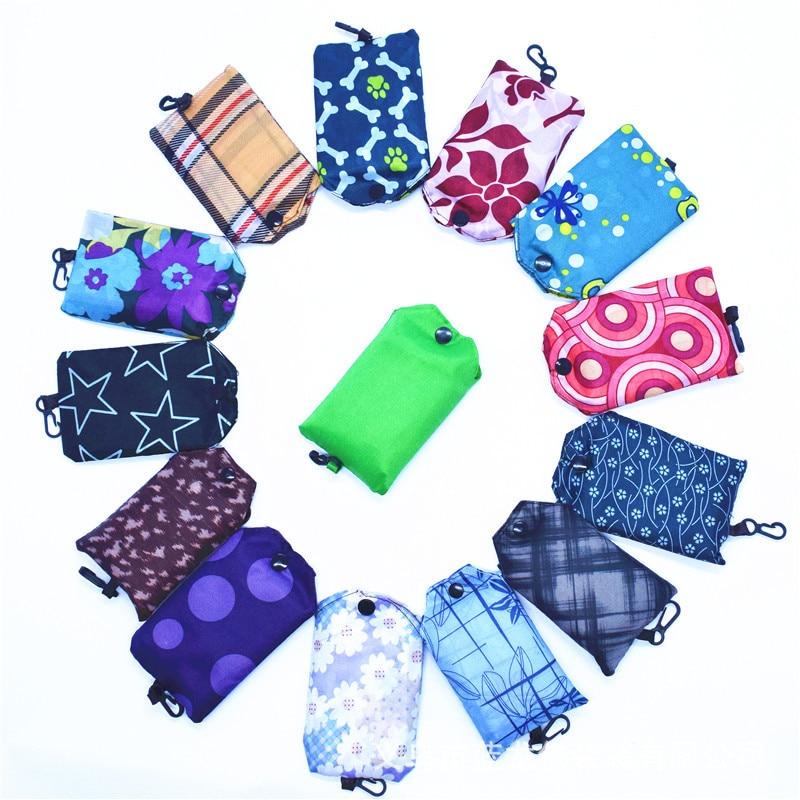 5 uds., bolso de compras plegable portátil creativo, bolsas de nylon, bolso de hombro resistente al agua, bolso de almacenamiento de poliéster
