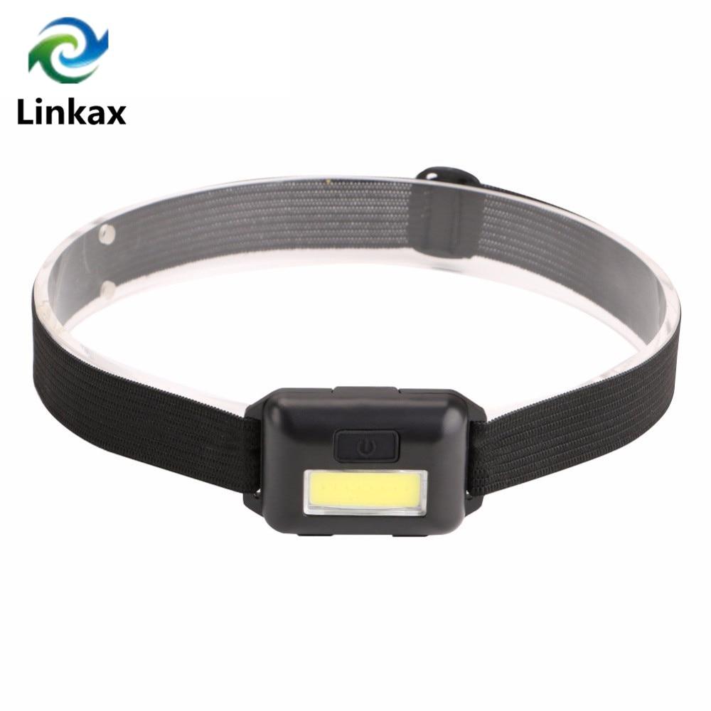 Новый мини 3 режима Водонепроницаемый COB светодиодный фонарик на открытом воздухе фара налобный фонарь с повязкой на голову, использование ...