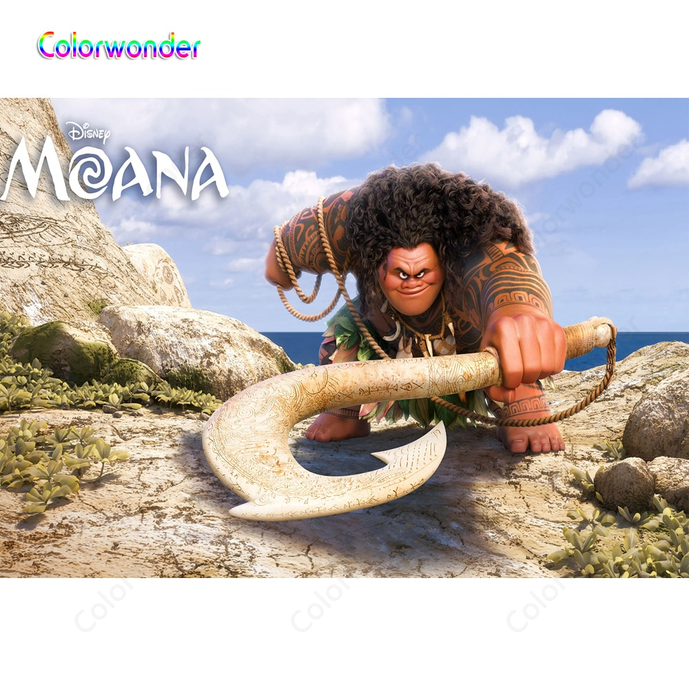 Colorwonder Film Princess Moana Photography Background God Maui with Magic Hook and Tattoo 7x5 Stone Mountain Backdrop for Kids