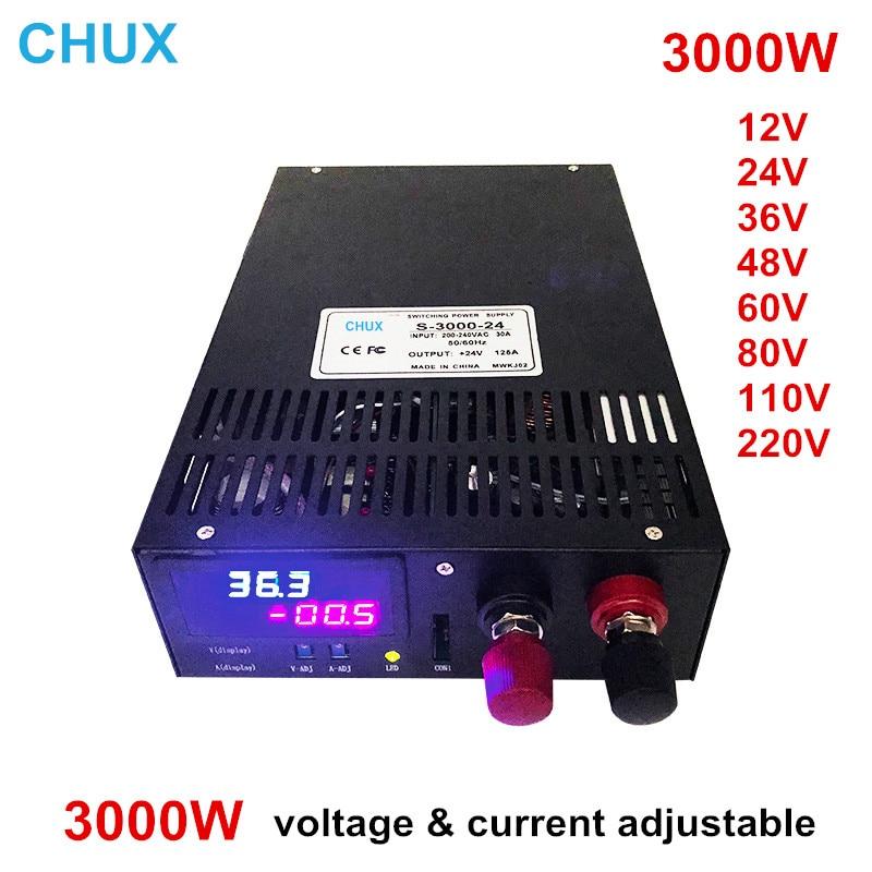 Fuente de alimentación conmutada ajustable 3000W 12v 15v 24v 36v 48v 60v 80v 110v 220v con tensión y ajuste de corriente fuente de alimentación