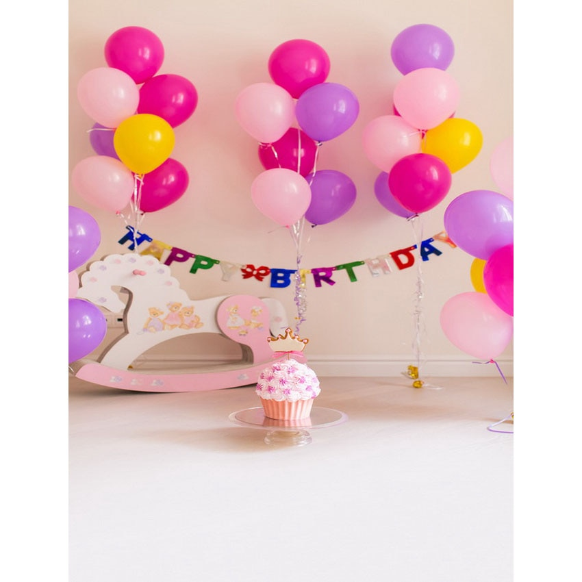 Photo Backgrounds Balloons Pink Cake Birthday Photography Backdrops for Photo Studio Children Kids Photo Shoot Photophone 3D