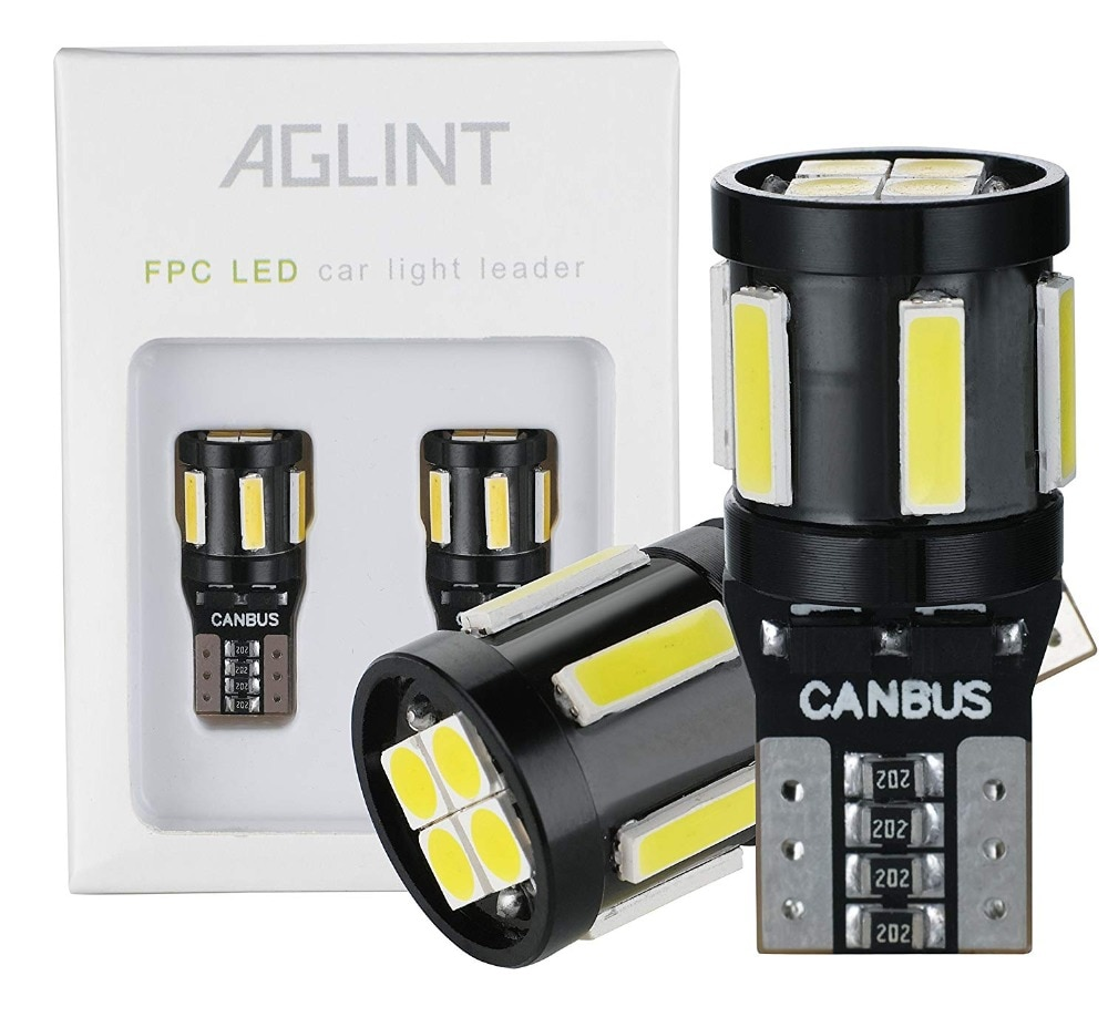 Aglint 2 pçs t10 5w5 194 lâmpadas led canbus 7020 + 3030 led 10chips de luz interior automático branco 12v para mercedes benz w211 w221 w210