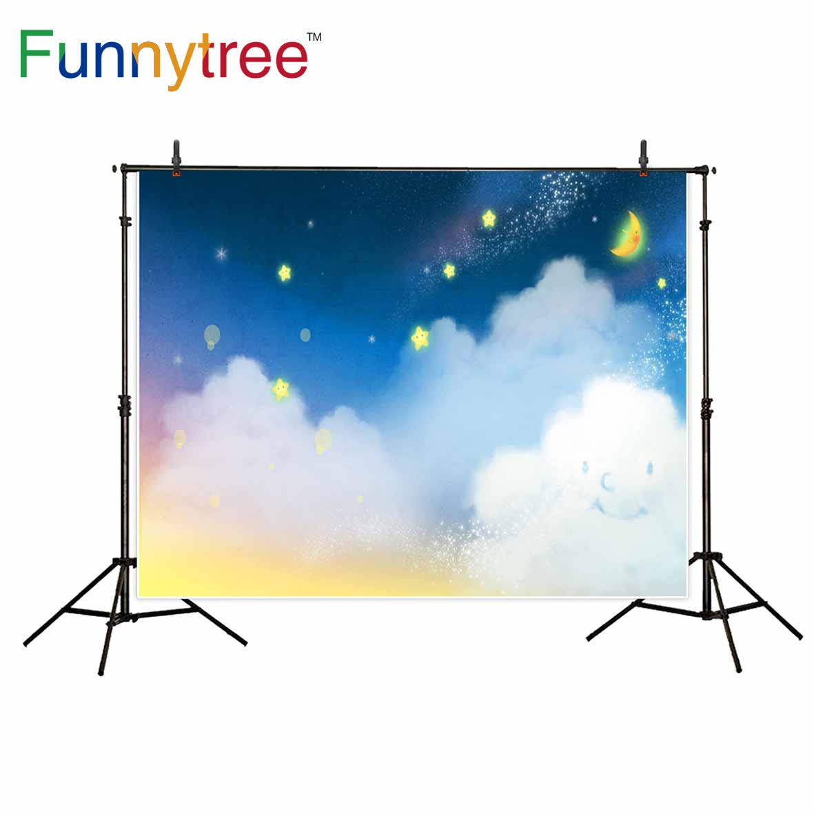 Funnytree fotografia pano de fundo conto de fadas noite lua nuvem dos desenhos animados criança photocall photo studio foto prop