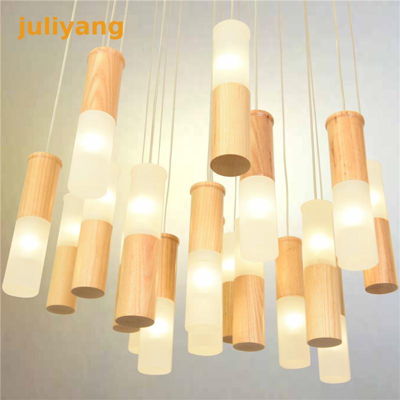 Lámpara de techo de tamaño grande de madera moderna juliyang, lámpara de aplique led para sala de estar, dormitorio, escaleras, decoración 110v 220v