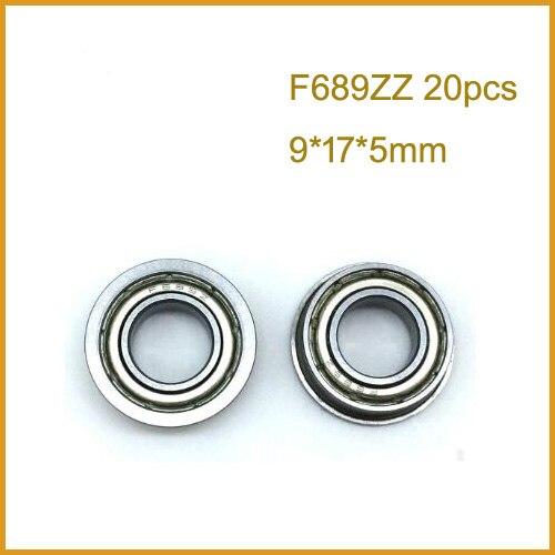 20pcs F682ZZ F683ZZ F684ZZ F685ZZ F686ZZ F687ZZ F688ZZ F689ZZ Flange Rolamento de Parede Fina de Metal Blindado Flangeada Rolamentos