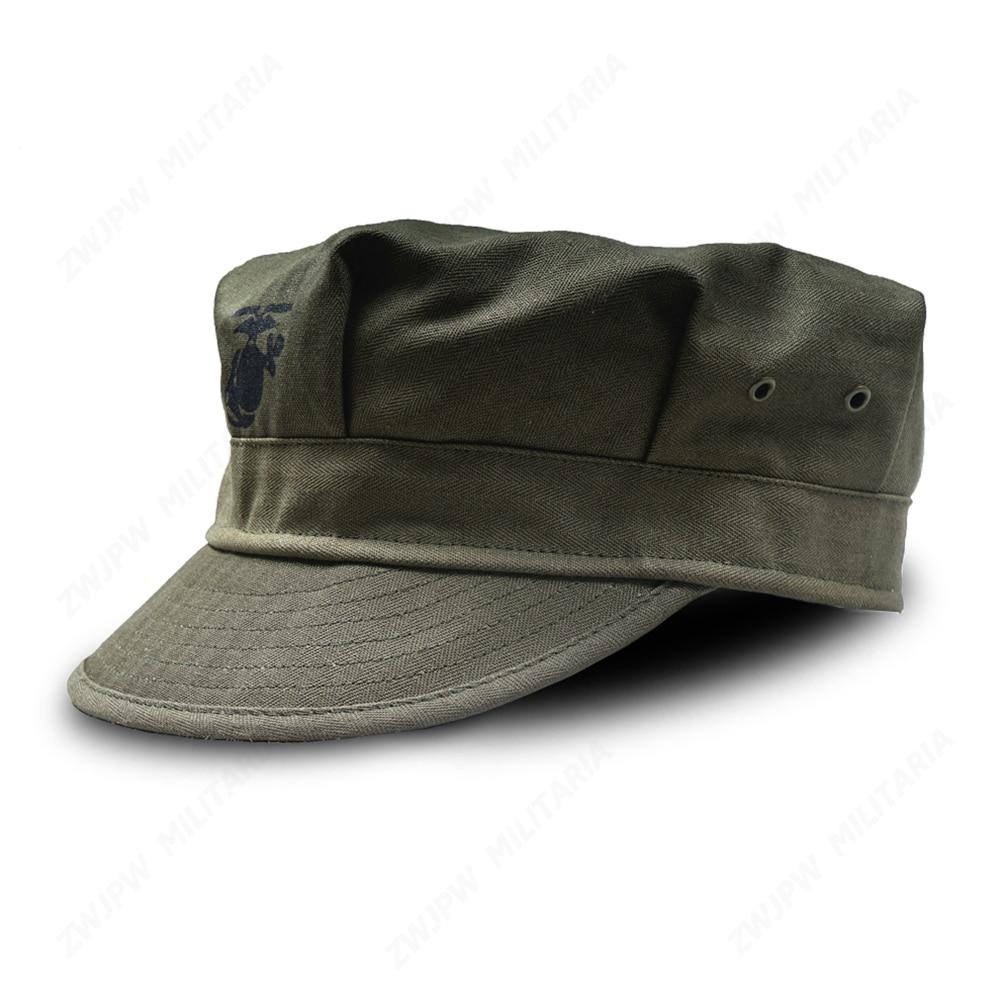 WW2 US HBT USMC PACIFIC CAMOUFLAGE KHAKI MARINE CORPS CAP HAT US/401103