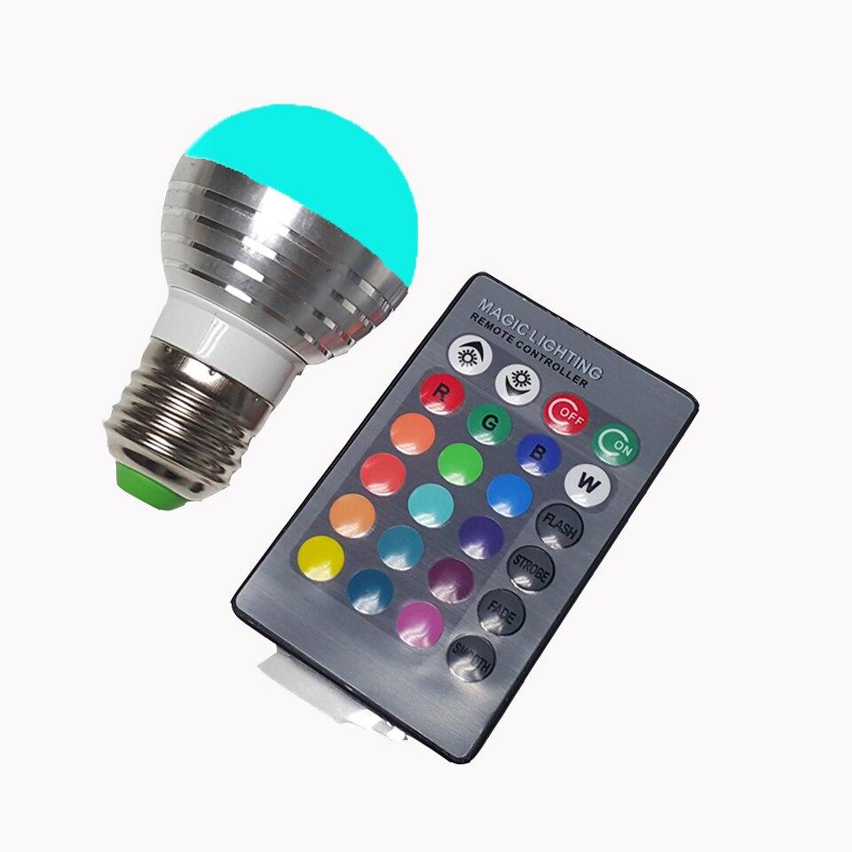 Bombilla led E27/E14 de 5 W, bombilla led RGB con control remoto, bombilla LED E27 de 220 V, foco regulable, lámpara de color AC110V