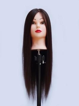 Cheap100 % cabeza de Maniquí de entrenamiento de fibra química de alta temperatura, cabeza de Maniquí de entrenamiento de cosmetología, pelo largo de maquillaje