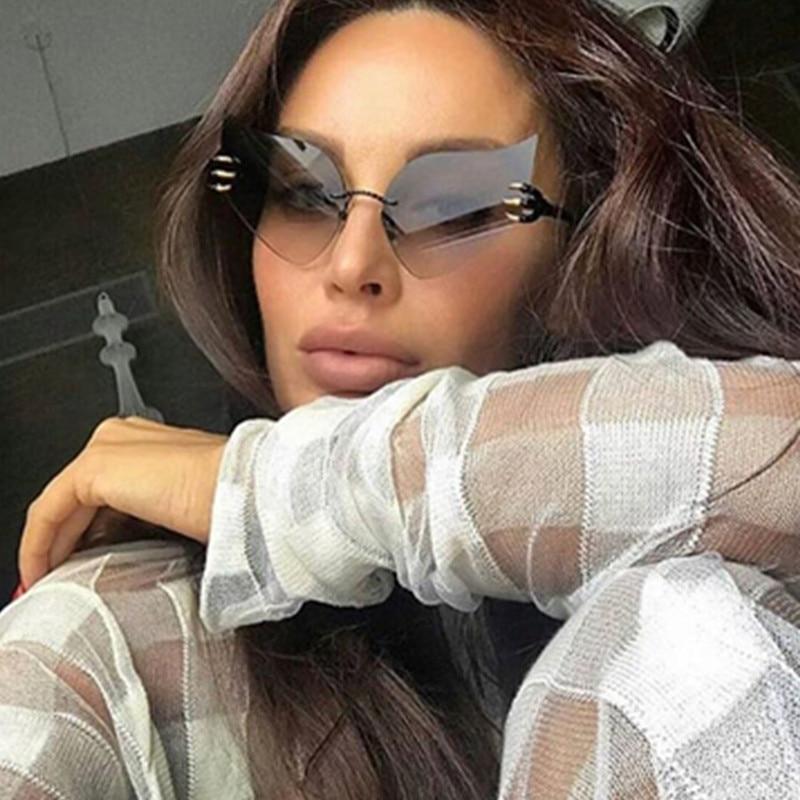 Emosnia Rimless Cat Eye Sunglasses Modis Oculos Feminino Angel Wings Shades Luxury Sun Glasses Women Brand Designer 2019