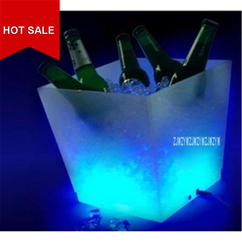 Cubo de hielo LED para CF-320F, Cubo de cerveza cuadrado de plástico PP de gran capacidad 10L, cubo de hielo con luz LED recargable que cambia de Color