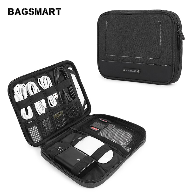 BAGSMART New Travel Electronic Accessories Organizer Portable Bags For USB Cables Waterproof Storage Bags for Ipad Mouse Charger