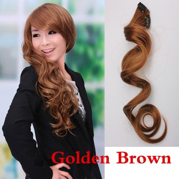 Extensión de pelo con estilo Sexy con Clip ondulado largo rizado marrón dorado para mujer