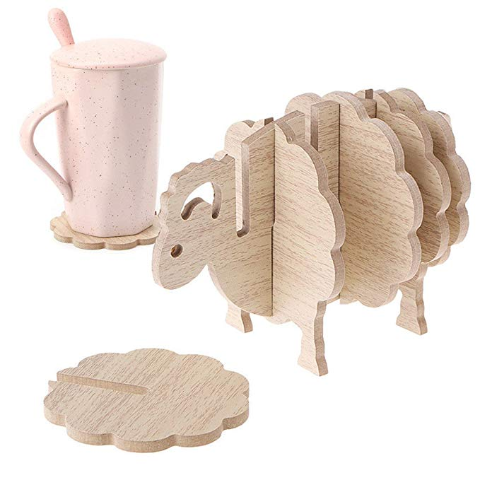Slingift taza en forma de oveja 3D estera para taza posavasos de madera decoración del hogar Mesa antideslizante almohadilla aislante de café