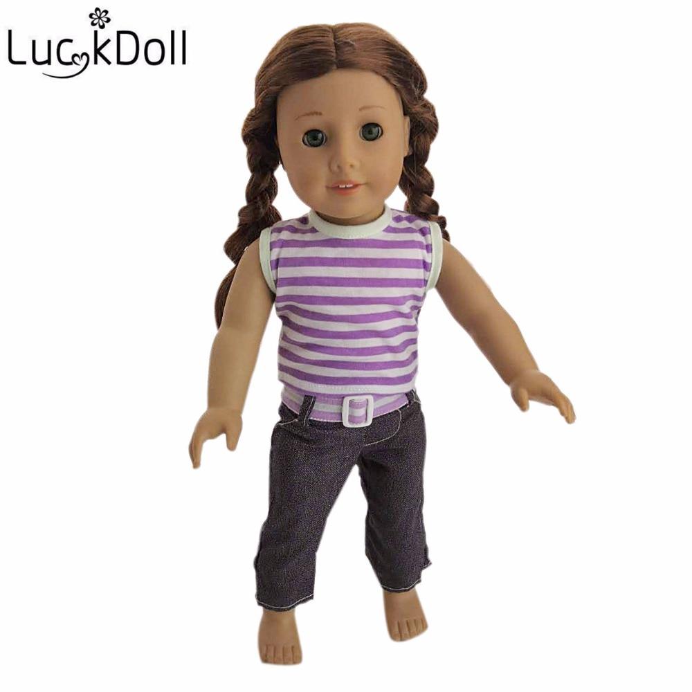 Luckdoll quente boneca roupas camiseta + jeans + cinto se encaixa 18-Polegada boneca acessórios