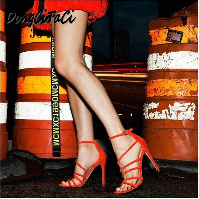 DongCiTaCi de verano zapatos de mujer punta abierta bombas Sexy de moda Zapatos de tacón alto sandalias fiesta de casamiento Roma hueco Zapatos