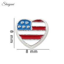F164 New 20pcs/lot Alloy Enamel Heart Charms America USA Flag Floating Locket Charms fit Living Memory Locket Wholesale