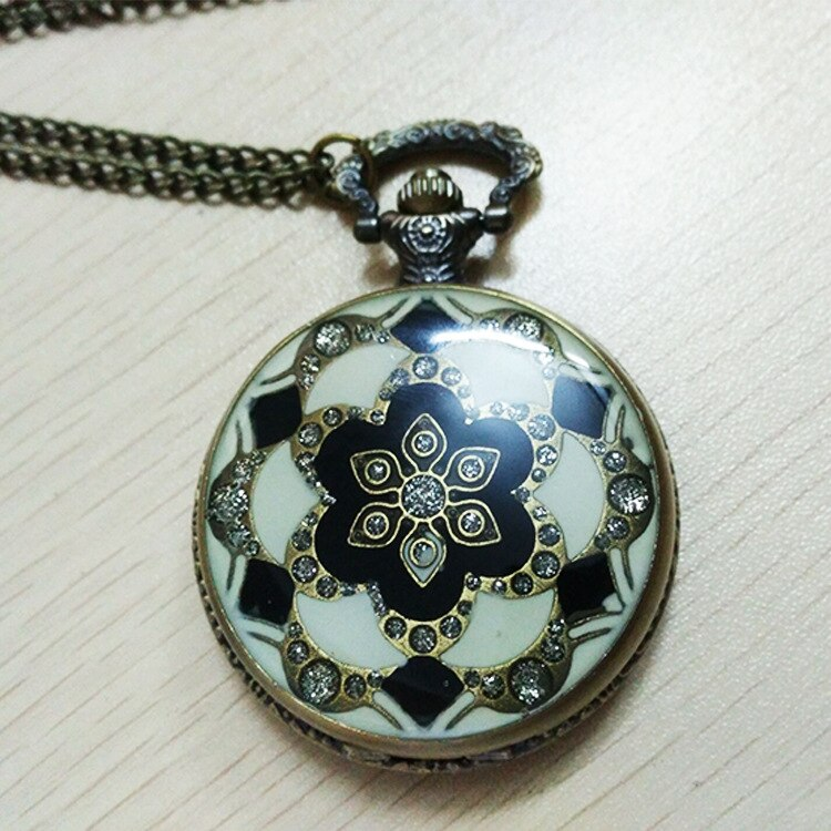 8071 Retro Glas Patroon Zakhorloge Bloem Diamant Keramische Case Prachtige Gift Mode Bronzen Armband Fob Tafel