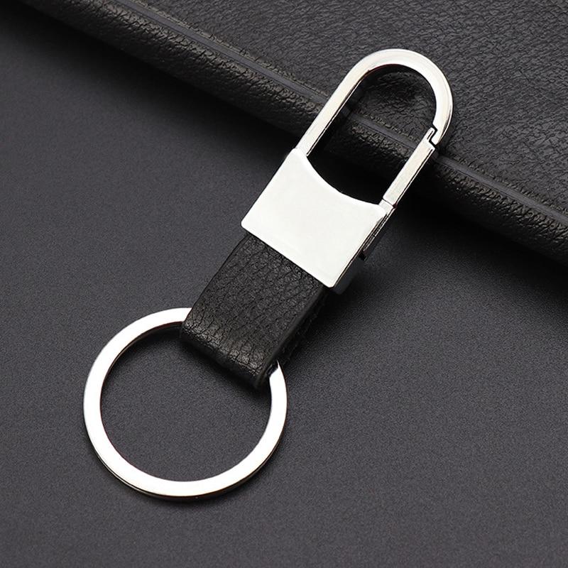 LLavero de Metal para coche para hombre, cubierta de anilla para llave de coche, cadena para Ford Toyota para Lada HYUNDAI, llavero de cuero