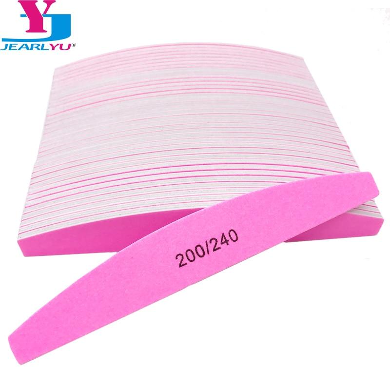 50 pçs unha arte lixa buffer unhas arquivos 200/240 rosa lixa meia lua forma polimento tira manicure uv gel polisher ferramentas