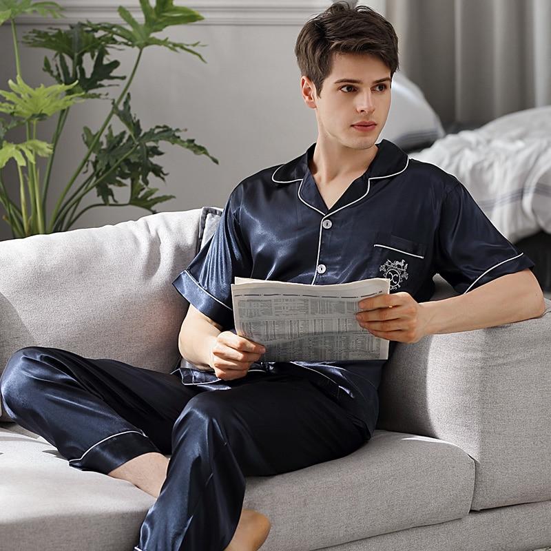 Пижама комплекты мужские лето короткие рукав длинные брюки тонкие лед шелк большие размер имитация натуральный шелк одежда для сна мужские весна осень X9008