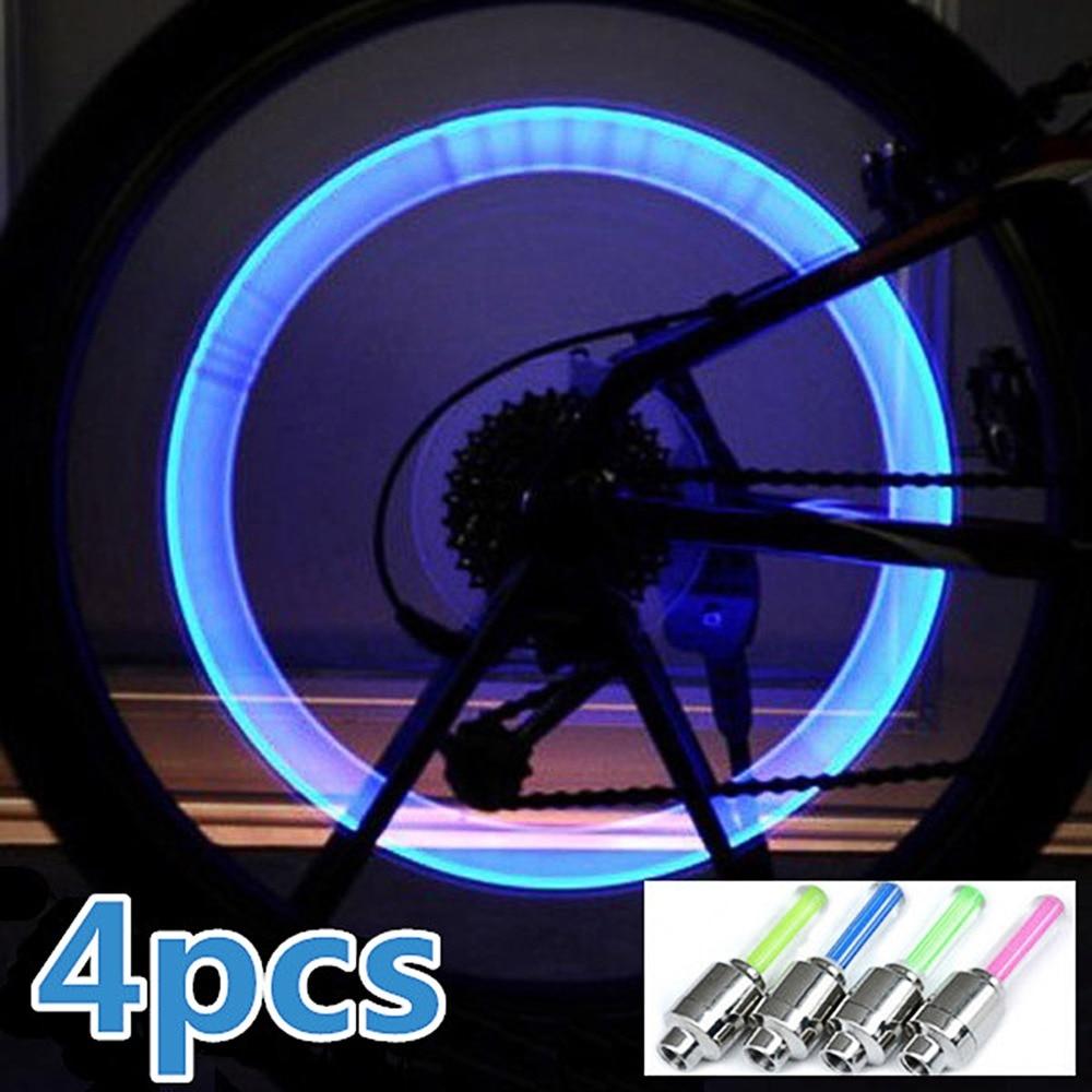 4 pcs Pneu Roda de Bicicleta Válvula de Luz Da Lâmpada Do Carro Cap Válvula Roda Luminosa Luz Cor Aleatória