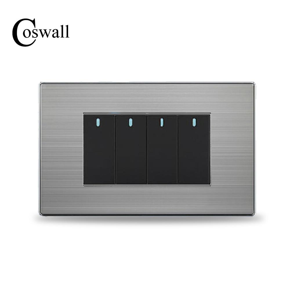 Настенный выключатель COSWALL US Standard 4 Gang, 2-сторонний выключатель света, панель из нержавеющей стали 118 мм * 72 мм