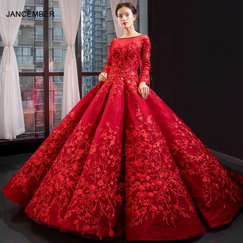 J66699 فساتين كوينسيانيرا الحمراء لعام 2020 فستان حفلة بكتف كامل وأكمام طويلة ورباط فاخر منتفخ من الخلف