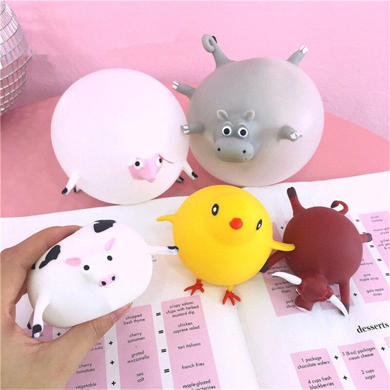 11 estilos divertidos novedad TPR soplando Animal apretar Anti-estrés bromas prácticas mordaza juegos inflables bola juguetes para niños