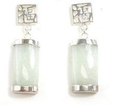 Heißer verkauf neue-shitou 00618 Ziemlich 18 KWGP FORTUNE-ANHÄNGER Natürliche Hellgrün Jade Ohrringe