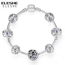 ELESHE couleur argent Bracelet à breloques et Bracelet avec bleu turc oeil de chance étoile Bracelet à breloques s femmes Fatima amitié bijoux