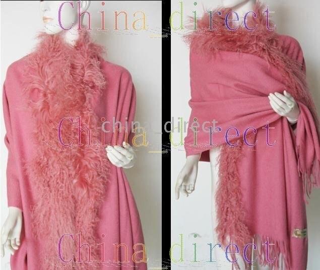 $Number ply pele sólida de lã xale envoltório ponchos envolve xales 6 008