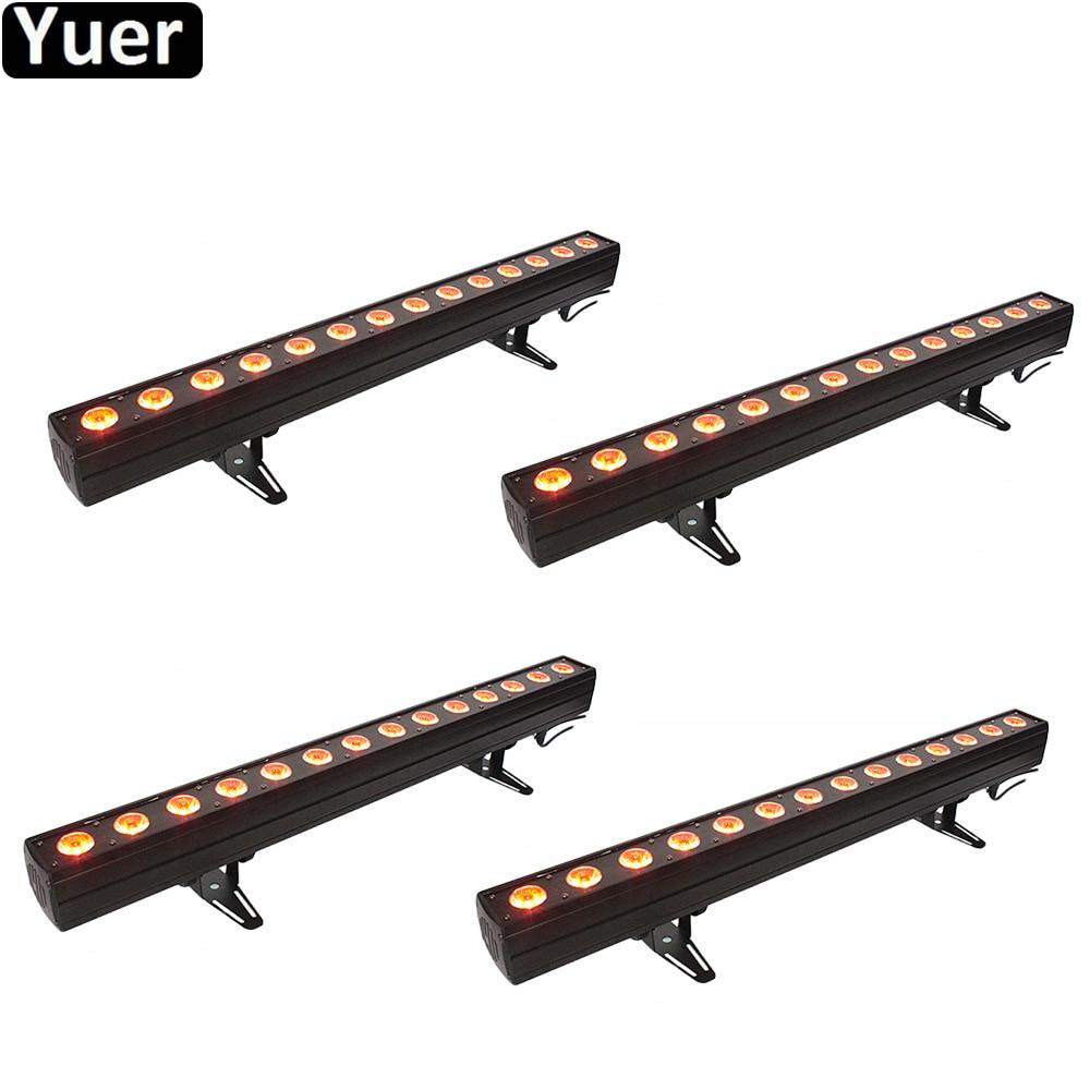 4 قطعة/الوحدة LED غسل جدار 14x12W RGBWA-UV 6in1 المرحلة الإضاءة داخلي مع تشغيل الحصان نقطة التحكم DMX512 الموسيقى DJ المعدات